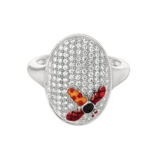 Sterling Silver Micro-Set Cubic Zirconium Oval with Dragonfly Fashion Ring