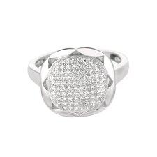 Sterling Silver Micro-Set Cubic Zirconium Square Fashion Ring