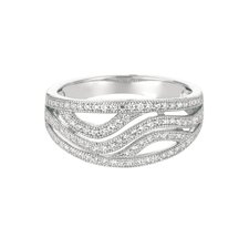 Sterling Silver Micro-Set 93 Cubic Zirconium Band Fashion Ring