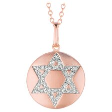 Round Star of David Pendant in Rose Gold