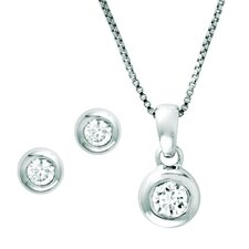 Sterling Silver Round Cubic Zirconia Jewelry Set