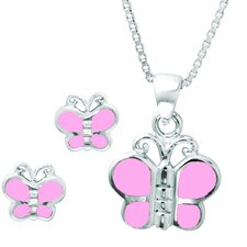 Sterling Silver Shell Butterfly Jewelry Set