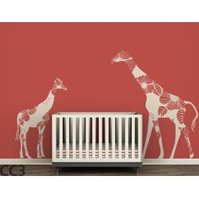 <strong>LittleLion Studio</strong> Fauna Mom & Baby Floral Giraffes Wall Decal