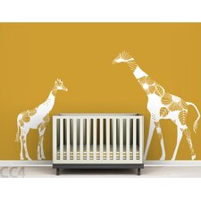 Fauna Mom and Baby Floral Giraffes Wall Decal