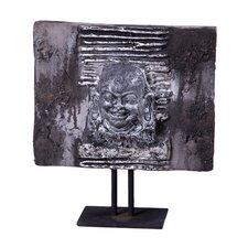 Lava Stone Jolly Buddha Head Plaque