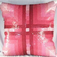 Faux Suede Pillow with Cross Roads Sequin Design