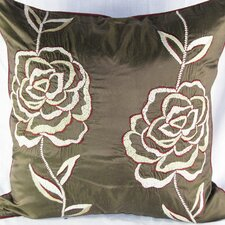 Silk Pillow with Rose Embroidery Motif