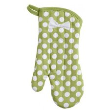 Green and White Polka Dot Oven Mitt with Bow