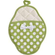 Green and White Polka Dot Scalloped Pot Mitt