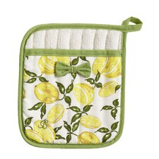 Summer Lemons Square Pot Mitt with Bow