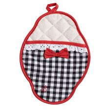 Black and White Gingham Scalloped Pot Mitt with Trim