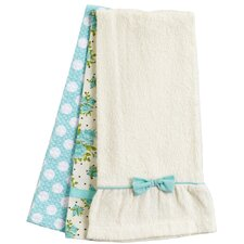 Aqua Spring Rose Bunch Towel Trio