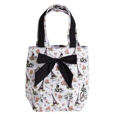 Paris Toile Lunch Tote Bag with Bow