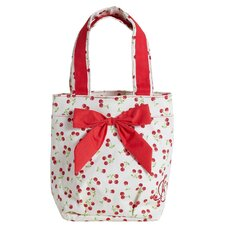 Retro Cherries Lunch Tote Bag with Bow