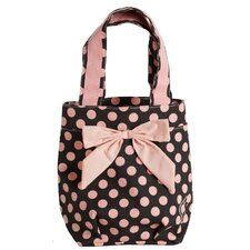 Brown and Pink Polka Dot Lunch Tote Bag with Bow