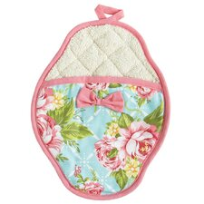 Cottage Kitchen Rose Scalloped Pot Mitt