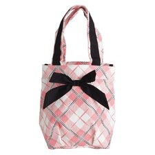 Pretty In Plaid Lunch Tote Bag with Bow
