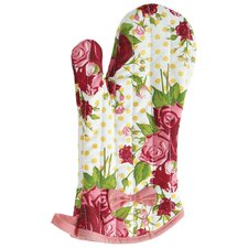 Spring Floral Red Oven-Mitt with Bow