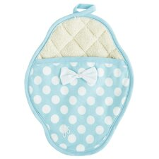 Lt Blue and White Polka Dot Scalloped Pot-Mitt