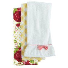 Spring Floral Red Towel Trio