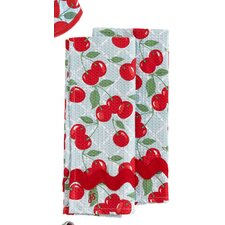 Kitchen Cherry Waffle Ric Rac Towel (Set of 2)