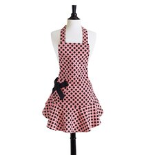 Pink and Black Polka Dot Bib Josephine Apron