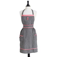Black and Cream Woven Houndstooth Bib Doris Apron