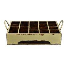 Distressed Rectangular Milk Crate with Iron Handles