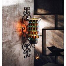 Mosaic Glass and Metal Geometric Wall Sconce