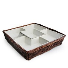 <strong>American Atelier</strong> Willow Square Chip and Dip Serving Tray