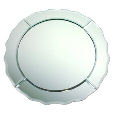 Scalloped Edge Round Mirror Glass Charger Plate (Set of 6)