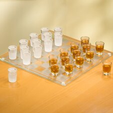 Game Night Checkers Shot Glass Set in Clear and White