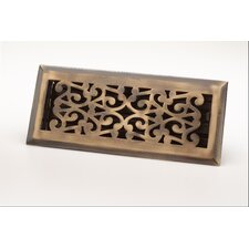 "2.25"" x 12"" Scroll Floor Register in Antique Brass"