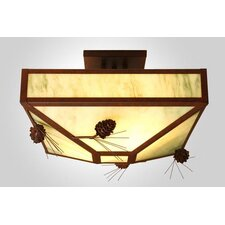 <strong>Steel Partners</strong> Ponderosa Pine 4 Light Post Drop Semi Flush Mount Ceiling Light