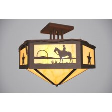 Cowboy Sunset Hexagon Semi Flush Mount