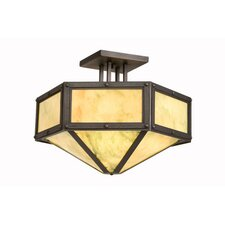 Rivets Hexagon Drop Semi Flush Mount