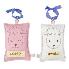 Sheep Asleep / Awake Sign in Distressed Pink