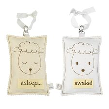 Sheep Asleep / Awake Sign in Distressed Yellow