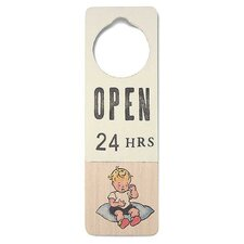 """Open 24 Hours"" Wooden Doorknob Sign"