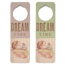 "<strong>Tree by Kerri Lee</strong> ""Dream Time"" Wooden Doorknob Sign in Distressed Pink"