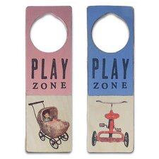 """Play Zone"" Wooden Doorknob Sign in Distressed Pink"