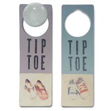 """Tiptoe"" Wooden Doorknob Sign in Distressed Purple"