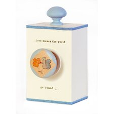 """Love Makes The World Go 'round"" Wind Up Music Box in Distressed Blue"
