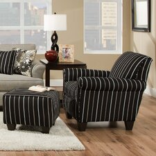 Daisy Striped Arm Chair and Ottoman