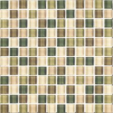 """Shimmer Blends 1"""" x 1"""" Ceramic Glossy Mosaic in Foliage"""