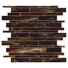 Catwalk Random Sized Glass Mosaic in Walnut Wedge