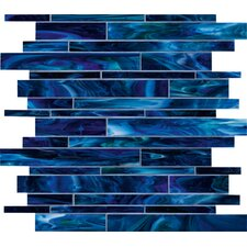 "Catwalk 12"" x 12"" Random Glass Mosaic in Blue Ballet"