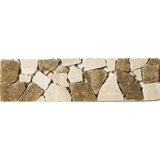 "Safari 12"" x 3"" Listelli Border / Corner Tile in Tumbled Marble"
