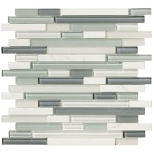 Crystal Stone II Random Sized Glass Strip Mosaic in Pearl