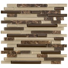 Crystal Stone II Random Sized Glass Strip Mosaic in Espresso
